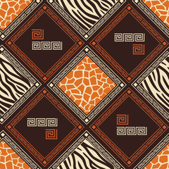 Abstract African seamless pattern with skin of wild animal .