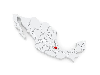 Map of Tlaxcala. Mexico.