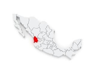 Map of Nayarit. Mexico.