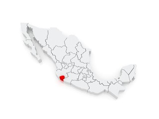 Map of Colima. Mexico.