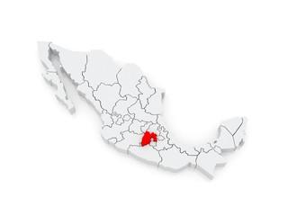 Map of Mexico City. Mexico.