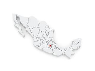 Map of Distrito Federal. Mexico.