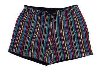Striped men's beach shorts.