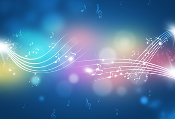 Abstract Music Notes Multicolor Background