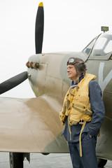 RAF Pilot With Spitfire Aircraft