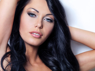 Brunette woman with beautiful blue eyes