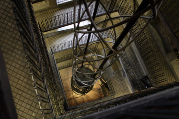 Elevator shaft and staircase
