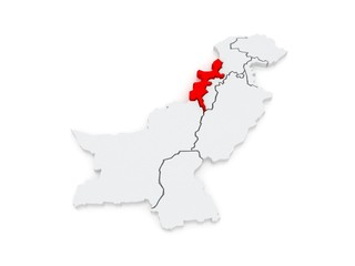 Map of Federally Administered Tribal Areas of Peshawar. Pakistan