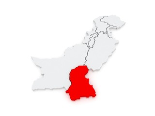 Map of Sindh. Pakistan.