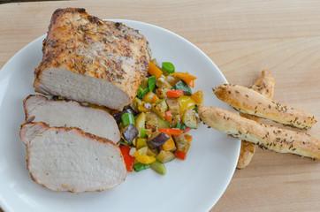 Pork roast on the grill