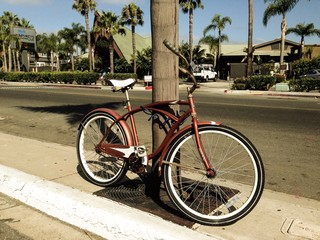 bicycle prop at the beach