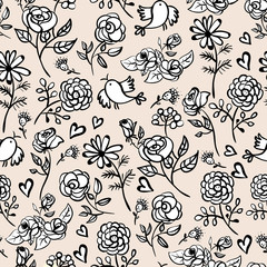 Monochrome Seamless background with roses