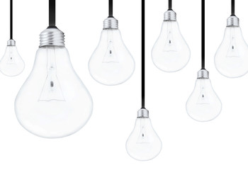 Light bulbs on white background