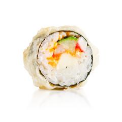 traditional fresh japanese sushi rolls on a white background