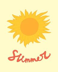 summer sun vector illustration, hand drawn