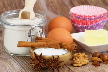 Selection of baking ingredients