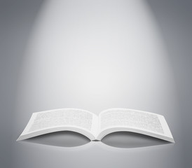 Open book isolated soft background