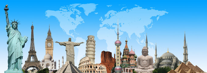 Fototapete - Travel the world monuments concept