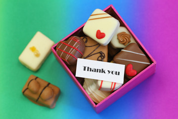 Thank you card with box of assorted chocolates