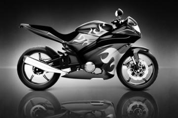 Studio Shot of Black Motorcycle