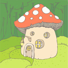 mushroom house vector illustration, hand drawn