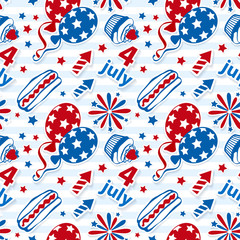 4th july stickers seamless background