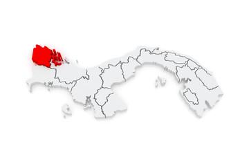 Map of Bocas del Toro. Panama.