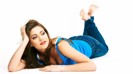 Woman lying on a white floor.