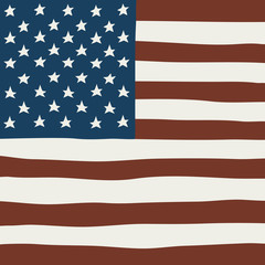 Hand draw vector squared flag of USA.