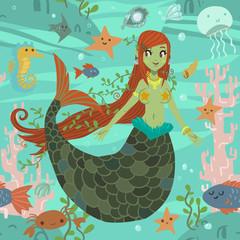 Cute awesome mermaid princess pattern.