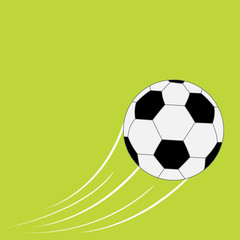 Flying football soccer ball with motion trails. Flat design