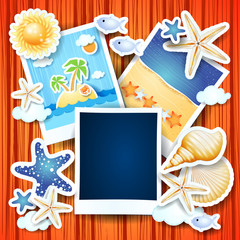 Holidays background with photo frames