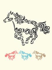 Horse floral art vector decoration.