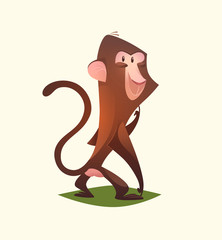 Monkey character. Cartoon vector illustration.