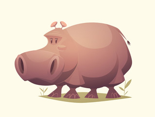 Hippo character. Cartoon vector illustration.
