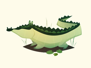 Alligator character. Cartoon vector illustration.
