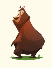 Bear character. Cartoon vector illustration.