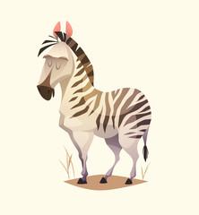 Zebra character. Cartoon vector illustration.