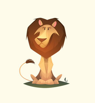 Lion character. Cartoon vector illustration.