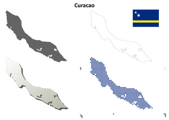 Curacao blank detailed outline map set