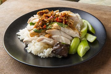 boned, sliced Hainan-style chicken with marinated rice