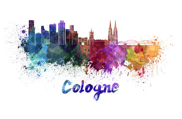 Fotomurales - Cologne skyline in watercolor