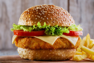 Wall Mural - hamburger with cutlet breaded