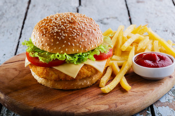 Fototapete - hamburger with cutlet breaded