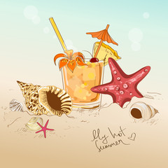 Illustration with seashells, starfish and cocktail
