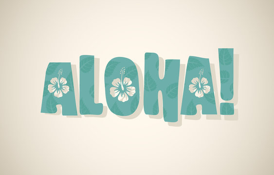 Vector aloha word in retro colors