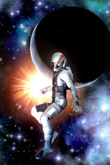 Wall Mural - Futuristic astronaut sun and planet