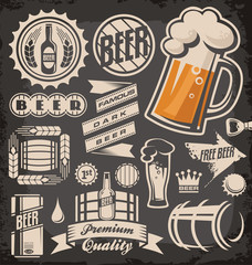 Set  of beer emblems, symbols and logos