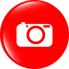 Camera icon on round internet button original illustration