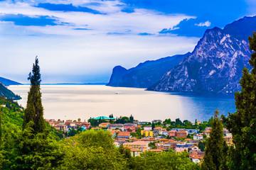 riva del garda.  Mountain lake Lago di Garda Wall mural
